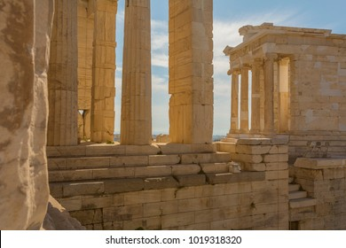 Temple of Athena Nike from Propylaea, the principal gateway to The Acropolis, Athens, Greece, Europe 13 October 2017
