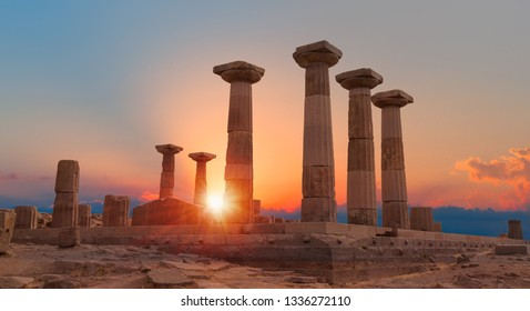 Temple of Athena in Ruins of ancient city Assos - Canakkale, Turkey