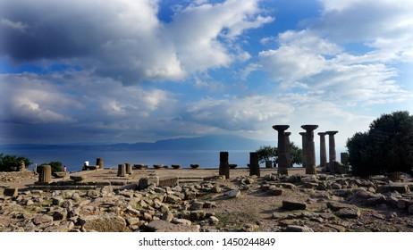 Temple of Athena (Athena Tapinagi in Turkish) in Assos, Canakkale Turkey, July 2019
