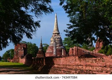 Temple in Ayuthaya, Thailand, daytime in November 2014.