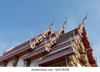 The temple in Bangkok focus on top  with blue sky background