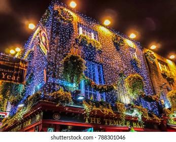 The Temple Bar, Dublin, Ireland - December 11 2017: The beautiful and warm festive atmosphere around the Temple Bar area in Dublin during the Christmas season