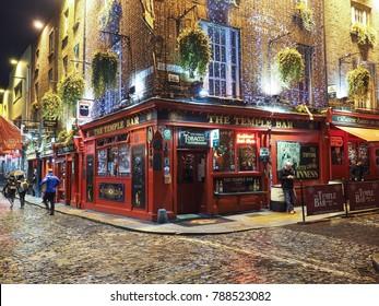 The Temple Bar, Dublin, Ireland - November 11 2017: The beautiful and warm festive atmosphere around the Temple Bar area in Dublin during the Christmas season
