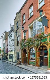 Temple Bar street in Dublin city center, Ireland