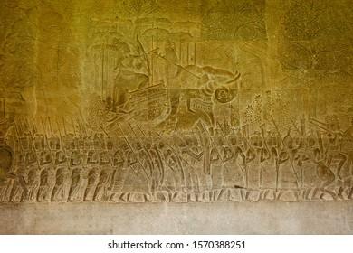 Temple, Bas-relief inside Angkor Wat, Angkor, Siem Reap, Cambodia