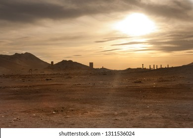 Temple of Bel at sunset, Palmyra, Syria