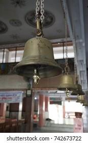 Temple bells at Khole Ke Hanuman Ji Temple,  Jaipur, Rajasthan, India
