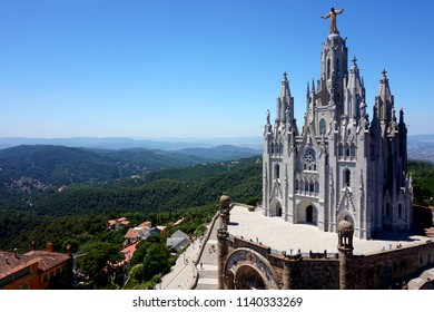 Temple of the Blazing Heart on the hill of Tibidabo in Barcelona.