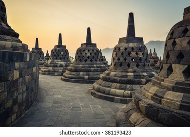 The temple of Borobudur in Java, Indonesia, at sunset