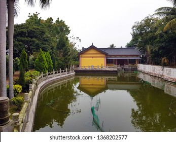 The temple of Buddhism and worship, the religion of China, the ancient temple of the Buddha, the historical sight of the city of Sanya, Hainan Island