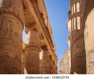 Temple buildings in the ancient complex of Karnak in Egypt.