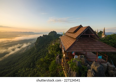 Temple built on a cliff in Lampang, Thailand.
