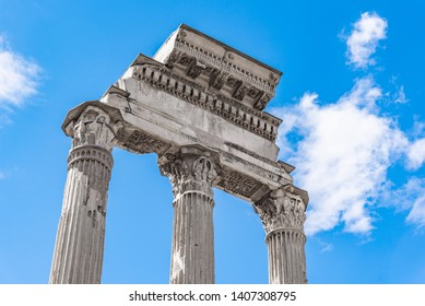Temple of Castor and Pollux, Italian: Tempio dei Dioscuri. Ancient ruins of Roman Forum, Rome, Italy. Detailed view.