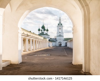 Temple in the center of Kostroma. shopping arcade.