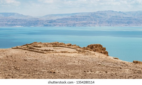 a temple from the chalcolithic era overlooks the dead sea at en gedi with the moav moabite mountains of jordan in the background