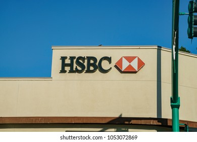 Temple City, FEB 13: Exterior sign of the famous HSBC Bank on FEB 13, 2018 at Temple City, Los Angeles County, California