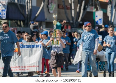 Temple City, FEB 24: Marching band performance of the famous 74th Camellia Festival Parade on FEB 24, 2018 at Temple City, Los Angeles County, California