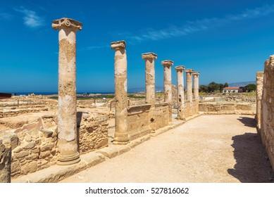 Temple columns in Kato Paphos Archaeological Park. Paphos, Cyprus.