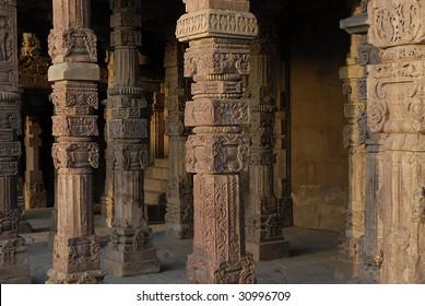 Temple columns near Qutub Minar, Delhi, India