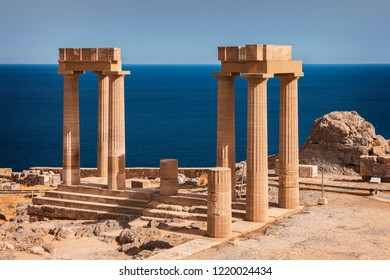 Temple columns with the sea behind. Lindos, Rhodes.
