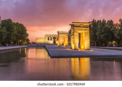Temple de bod of Madrid at sunset,Spain
