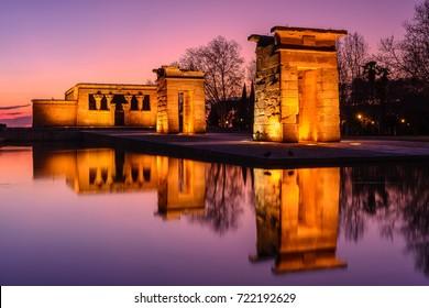 Temple of Debod at night, Madrid, Spain