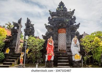 Temple decorated for Melasti, Hindu ceremony of purification before Nyepi.