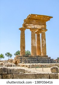 Temple of the Dioscuri near a city named Agrigento located in Sicily, Italy