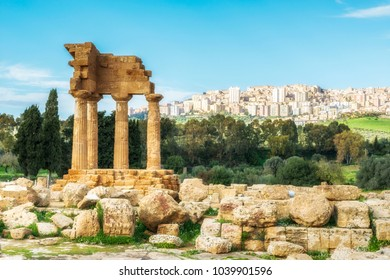 Temple of Dioscuri. Valley of the Temples. Agrigento, Sicily, Italy