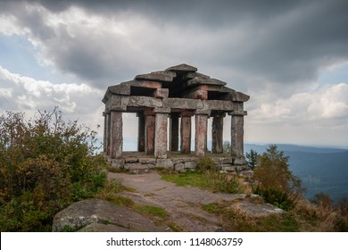 Temple of the Donon. Greco-roman classical antiquity architecture style building built in 1869 in the Vosges, Donon summit, Alsace, France.
