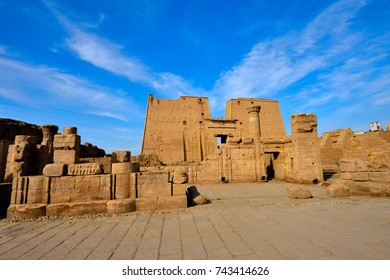 The temple of Edfu is an ancient Egyptian temple, located on the west bank of the Nile in Upper Egypt. The temple is the largest temple dedicated to Horus.