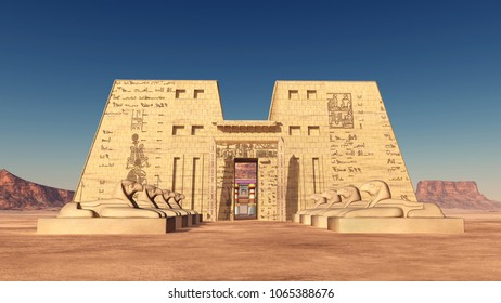 Temple of Edfu in Egypt Computer generated 3D illustration