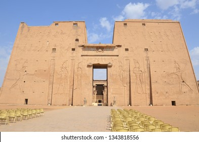 The Temple of Edfu is an Egyptian temple located on the west bank of the Nile in Edfu, Upper Egypt. It's considered to be one of the most beautiful and preserved Temples in Egypt. Front facade.