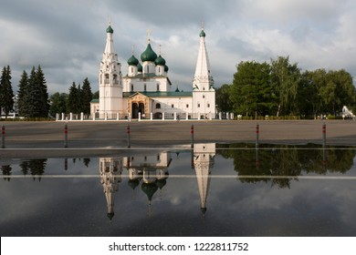 Temple of Elijah the Prophet in Yaroslavl on a summer day after rain, Russia