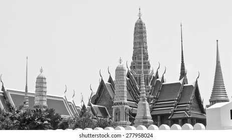 Temple of the Emerald Buddha, Wat Phra Kaew monochrome in Bangkok, Thailand. In Thailand public domain or treasure of Buddhism. no copyright, no name of artist appear.