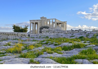 The Temple of Erechtheum on the North side of the Acropolis, Athens.