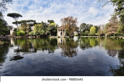 Temple of Esculapio, located at the beautiful park Villa Borghese, Rome, Italy.