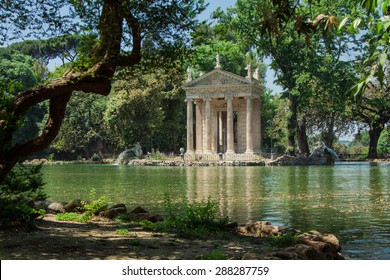 The Temple of Esculapio is one of the many ancient building that a tourist can find in the beautiful park of Villa Borghese in Rome