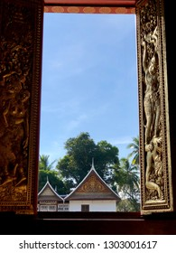 Temple exterior with clear blue sky in Luang Prabang Laos