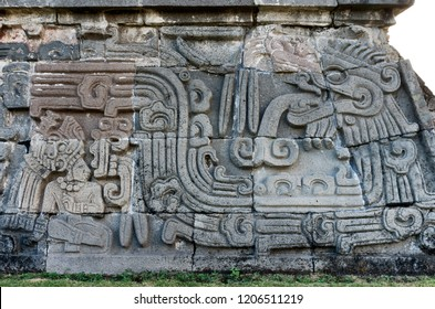 Temple of the Feathered Serpent in Xochicalco. Pre-Columbian archaeological site in Mexico.  UNESCO World Heritage Site
