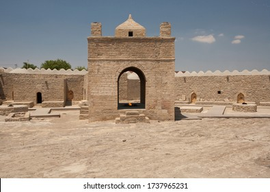 The temple of fire in Azerbaijan, Surakhan, seventeenth - eighteenth century, stone walls of the castle, flooring, fencing.