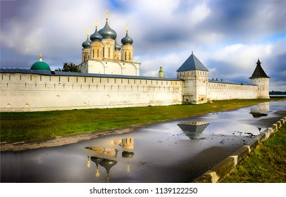 Temple fortress walls landscape. Fortress wall panorama. Russian temple fortress view