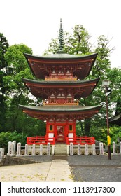 "Temple of ""Fuse Benten"" and  wooden triple pagoda. Kashiwa City, Chiba Prefecture, Japan."