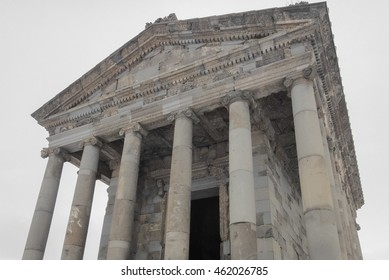Temple of Garni in Armenia near Yerevan. Winter time