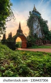 Temple gate at Dharma Khao Na Nai Luang Park  Surat Thani, Thailand.