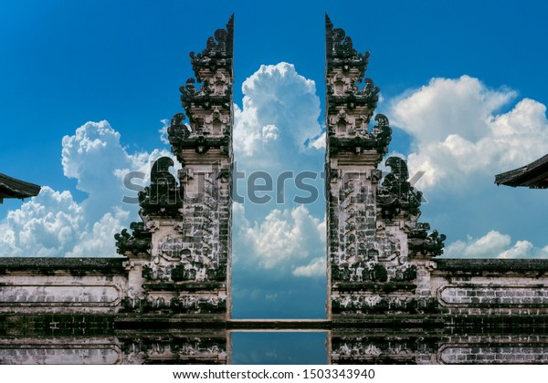 Temple gates at Lempuyang Luhur temple in Bali, Indonesia. Vintage tone.