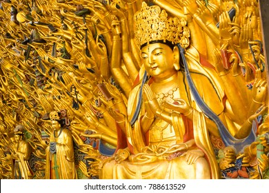 The Temple of the Gold  Buddha of the Thousand hands in dazu rock carving,chongqing, China