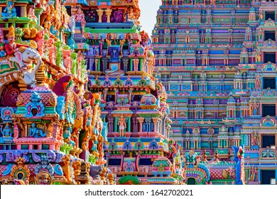 Temple Gopurams in Srirangam, Trichy town of tamilnadu in india
