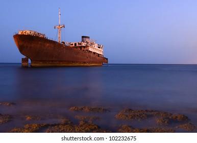 """Temple Hall"" shipwreck near Costa Teguise on Lanzarote island"