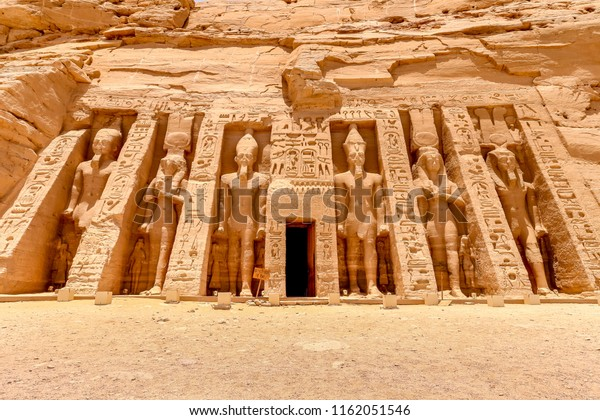 The temple of Hathor and Nefertari, dedicated to the goddess Hathor and Ramesses II's queen, Nefertari, at Abu Simbel, Egypt, Africa